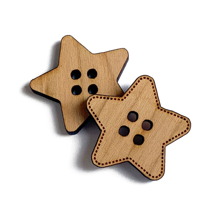 Star Wooden Buttons