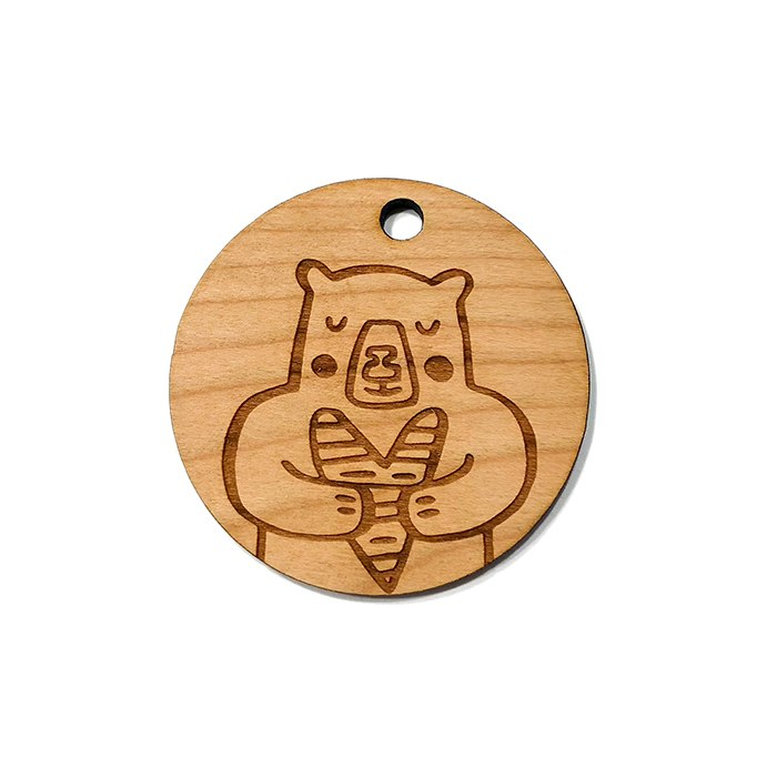Bear Love Wooden Charms