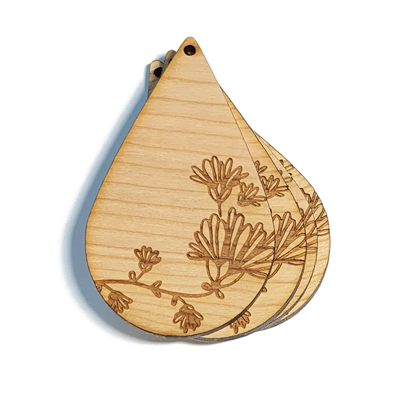 Daisy Floral Wooden Drops