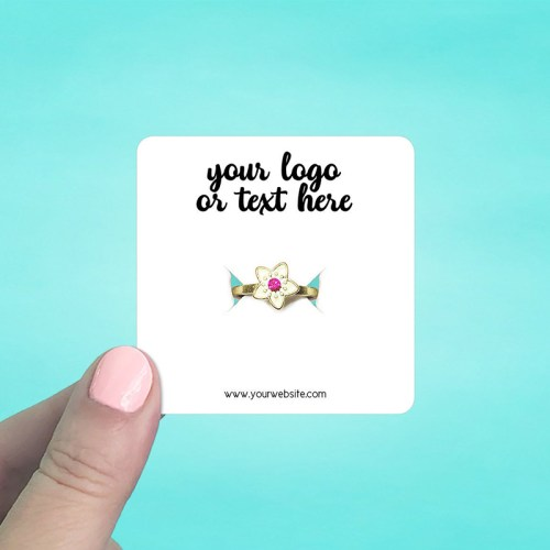 "Set of 70 2.5 x 2.5"" Rounded Square Ring Display Cards"