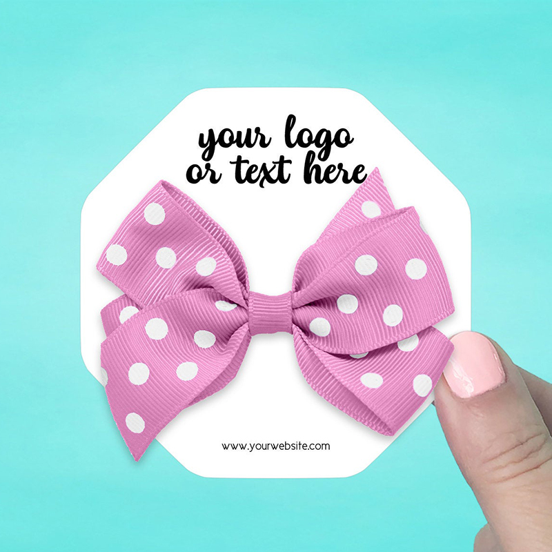"Set of 34 3.5 x 3.5"" Octagon Hair Bow Display Cards"