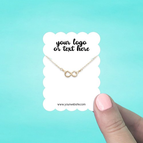 "Set of 72 2 x 2.75"" Scallop Rectangle Necklace Display Cards"