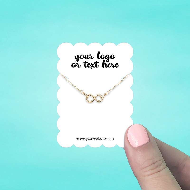 """Set of 72 2 x 2.75"""" Scallop Rectangle Necklace Display Cards"""