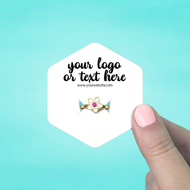 "Set of 70 2.5 x 2.75"" Hexagon Ring Display Cards"