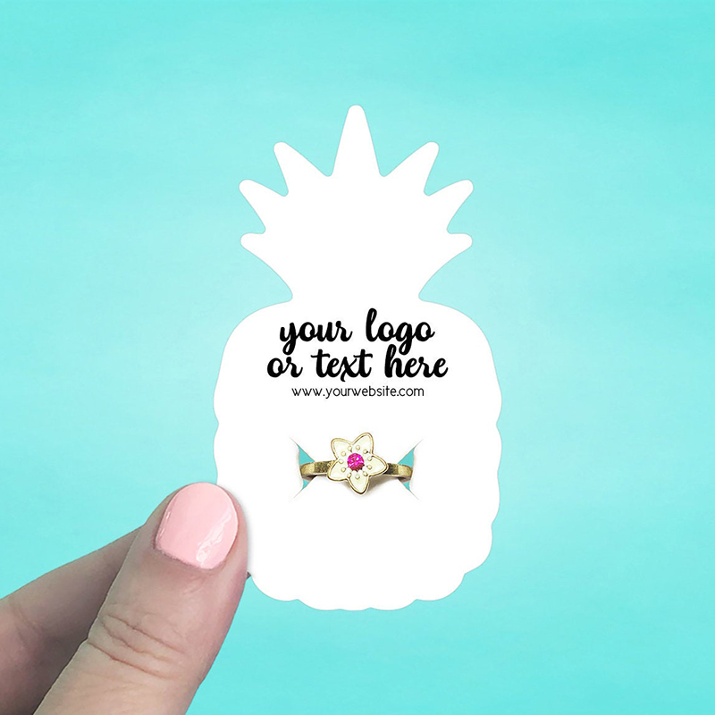 """Set of 58 2 x 3.5"""" Pineapple Ring Display Cards"""