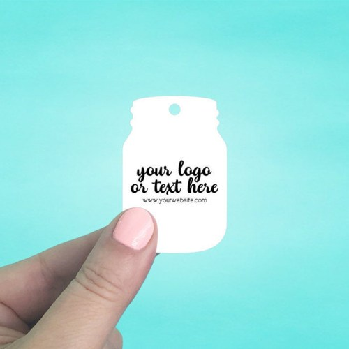 "Set of 80 1.5 x 2.25"" Mason Jar Shaped Hang Tags"