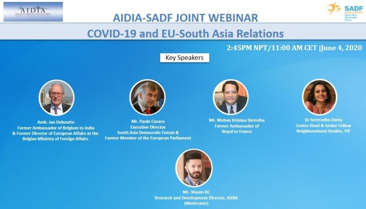 , AIDIA-SADF Joint Webinar – COVID-19 and EU-South Asia Relations