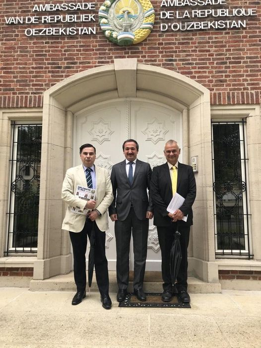 , Paulo Casaca and Siegfried O. Wolf, at the Embassy of Uzbekistan in Brussels, with Minister-Counsellor Ravshan Mamatov to discuss the role of Uzbekistan in promoting stability, peace and development in Afghanistan