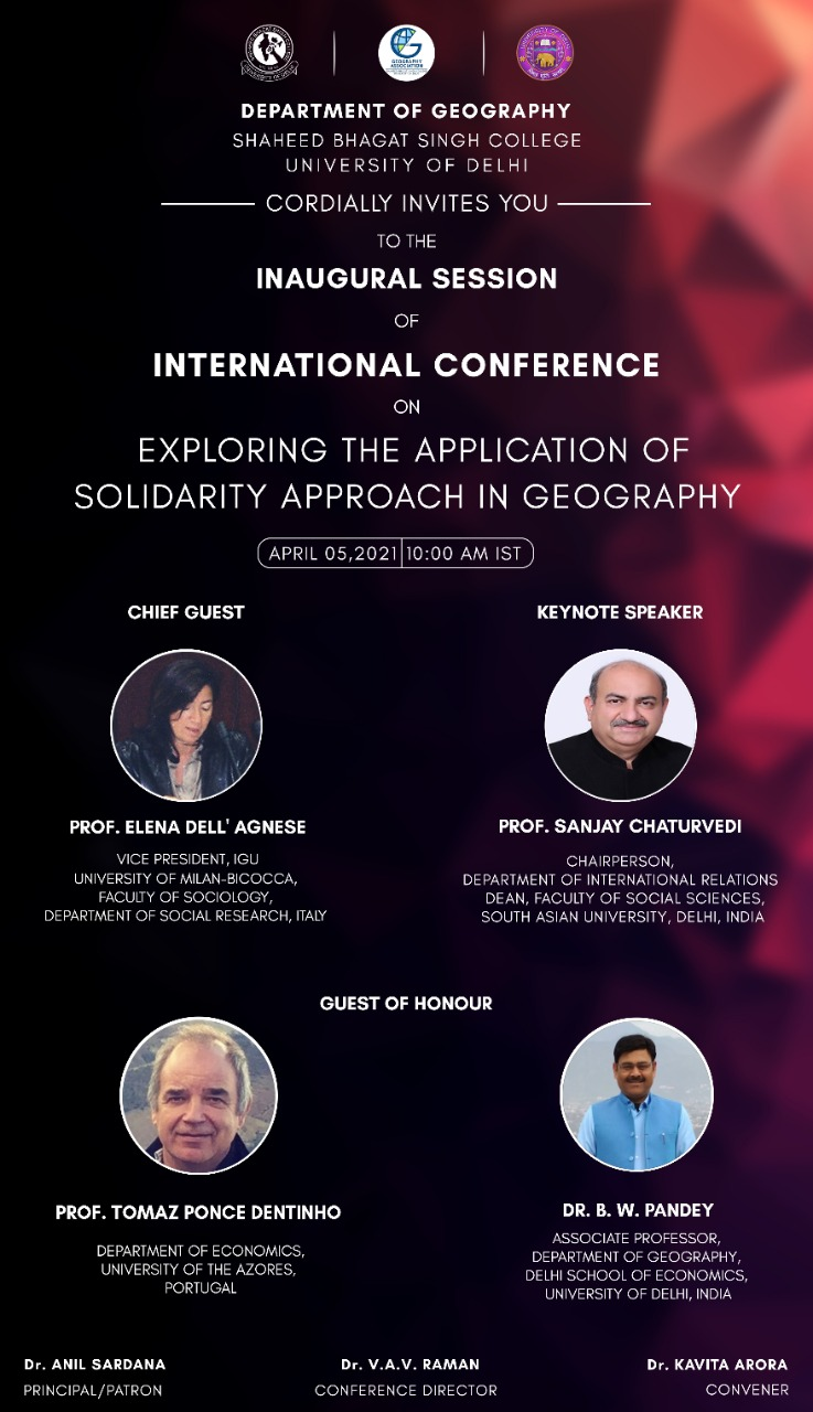 """, THE ONLINE INTERNATIONAL CONFERENCE ON """"Exploring the Application of Solidarity Approach in Geography"""""""