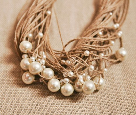 Pearl and linen necklace from Paris as inspiration for beach jewelry with vintage pearls