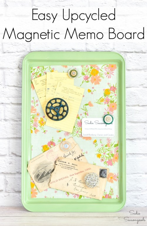 Decoupage tray and Magnetic bulletin board from a cookie sheet