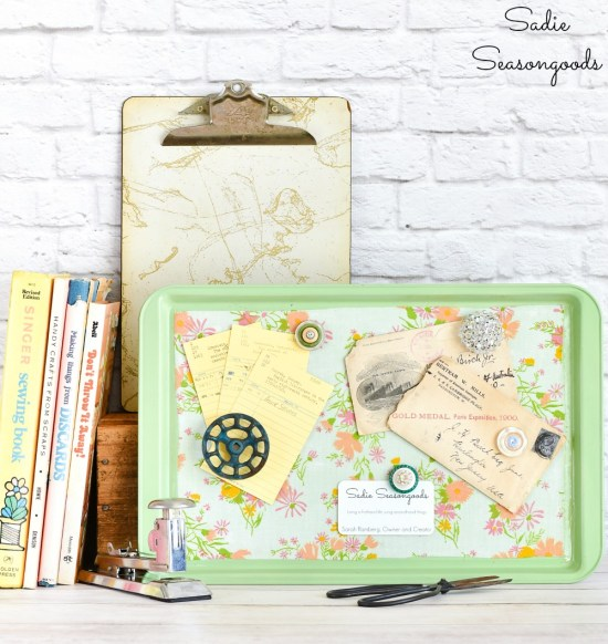 How to decoupage on metal with fabric for a magnet display board