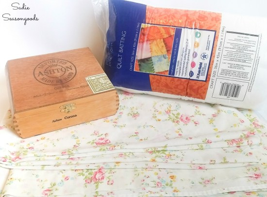 Quilt batting and floral sheet to make the ring cushions to go in a vintage cigar box