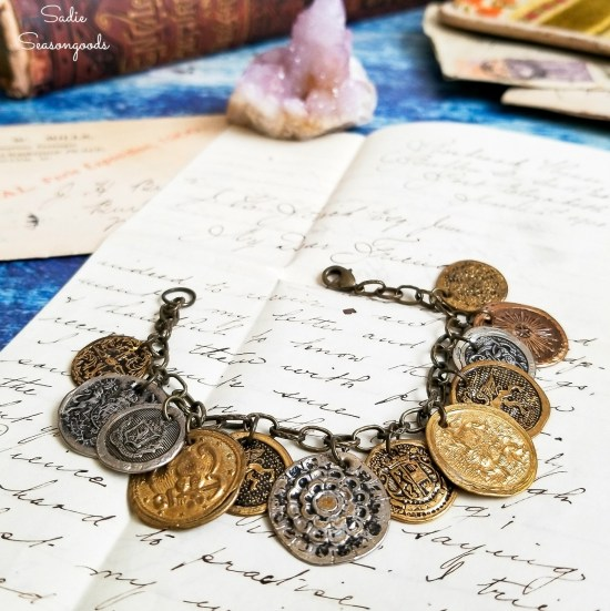 Button jewelry or boho bracelet from upcycling the metal buttons into pirate coins for gypsy jewelry