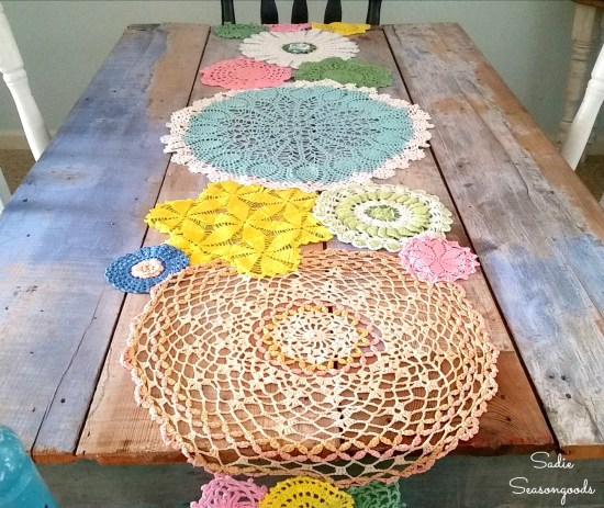 How to make a Spring table runner from vintage doilies for country cottage decor or primitive decor