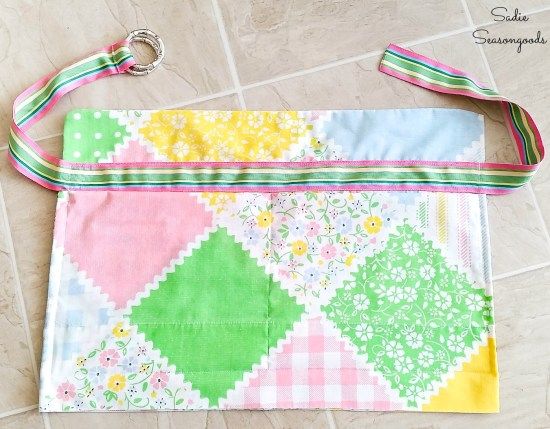 Waist apron with a ribbon belt and vintage pillowcases