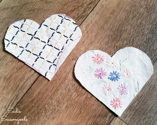 Make your own bookmarks with embroidered linens