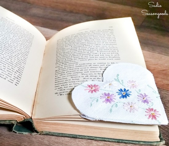Upcycling the embroidered linens into DIY corner bookmarks