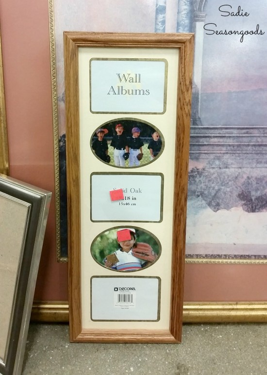 Collage photo frame to be upcycled into coastal wall decor with vintage prints from an old book by Sadie Seasongoods
