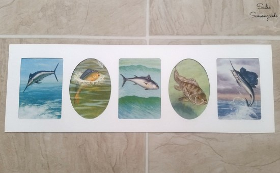 Upcycling idea for thrift store book and collage photo frame to become coastal wall decor by Sadie Seasongoods