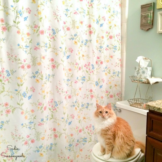 Floral shower curtain from vintage bed sheets for a cottage bathroom