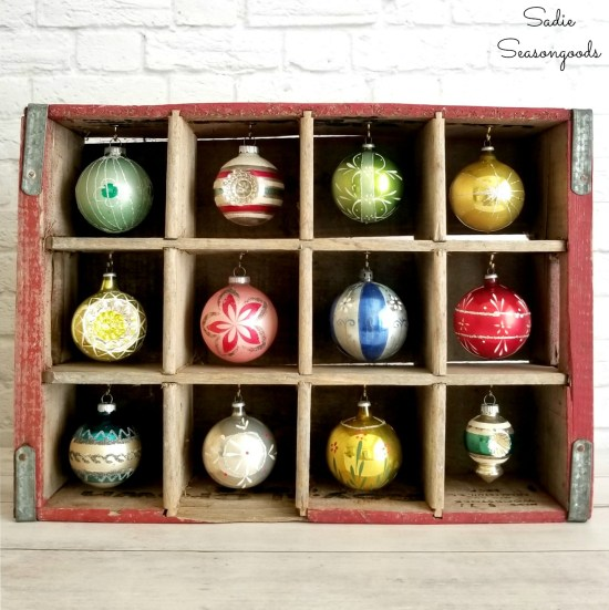 How to repurpose a vintage wooden crate into a DIY Christmas Ornament Stand by Sadie Seasongoods