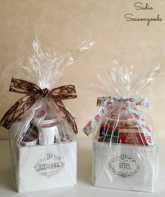Upcycling the tea and coffee canisters into wooden gift boxes for coffee gifts and gifts for tea lovers