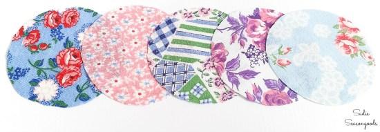 Circles of flour sack fabric to make into flower petals