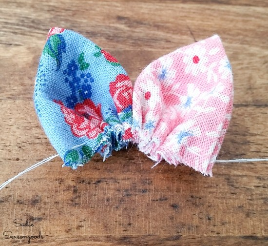 Upcycling the flour sack cloth into flower lapel pins