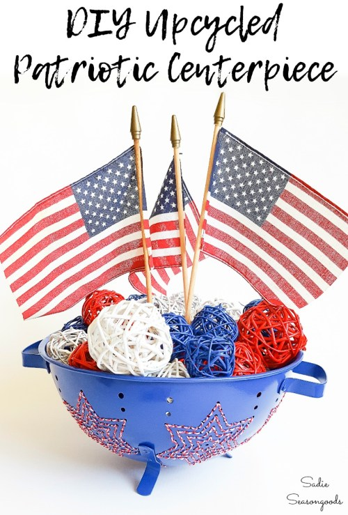 4th of July table decorations with star embroidery on a vintage colander