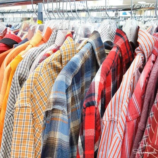 Thrift store clothing for repurposing projects