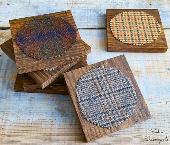 Upcycling a tweed sport coat for a wooden coaster set