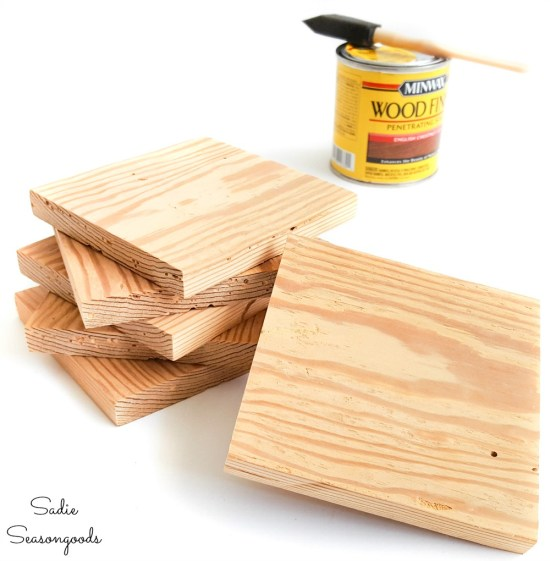 Wood stain for a wooden coaster set