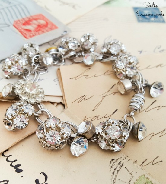 How to make a charm bracelet by upcycling the rhinestone buttons or vintage buttons