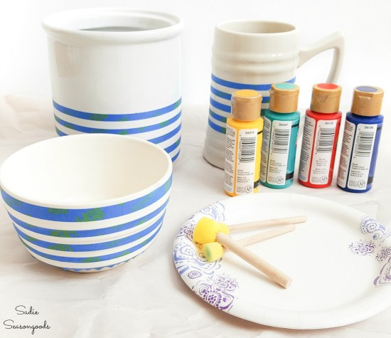 Painting the white dishes with Hudson Bay stripes