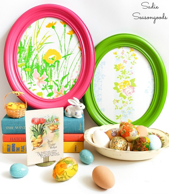 Easter mantel decorations with vintage oval frames that look like the Pysanky eggs