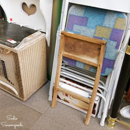 Old washboard or antique washboard at an antiques store for upcycling into primitive decor