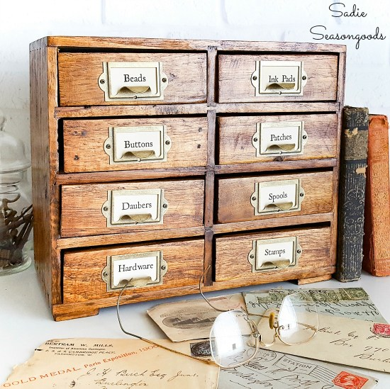 Vintage card catalog as thrift home decor by upcycling a mini chest of drawers