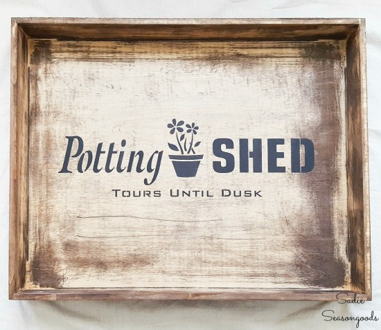 Top part of a potting bench or garden station with a shallower drawer