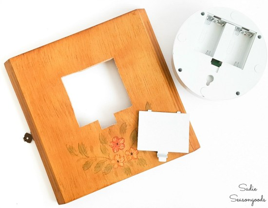 Cutting a larger hole in a clock box for an LED push light