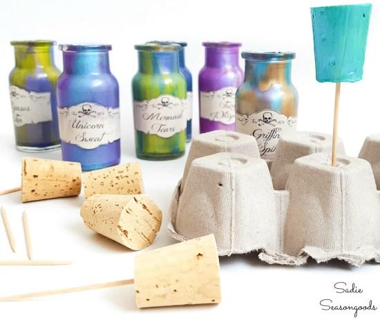 Painting cork bottle stoppers for Halloween decor
