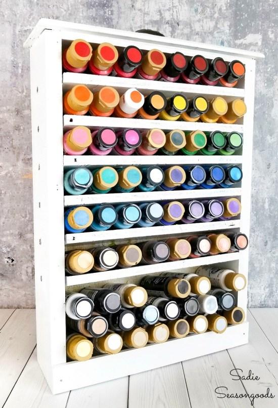 Repurposing a kitchen drawer as an acrylic paint storage rack