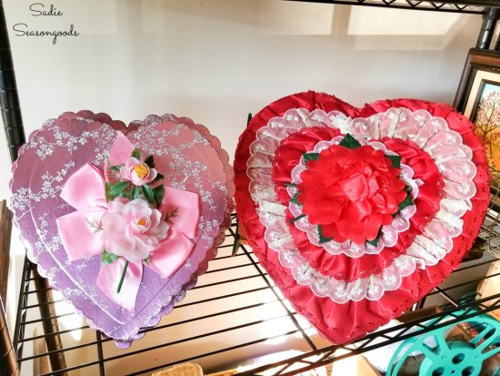 Chocolate heart box for upcycling into a heart shaped wreath as vintage valentine decorations