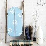 Blue Christmas Decor or Winter Decor with a Wooden Sled