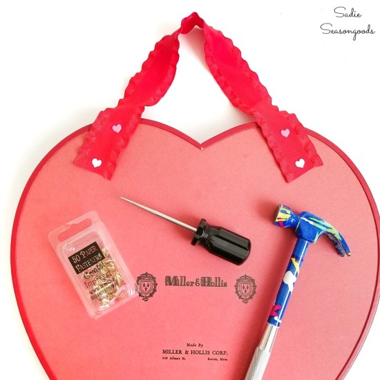 Hanging a heart candy box or heart shaped chocolate box for a Valentines Wreath