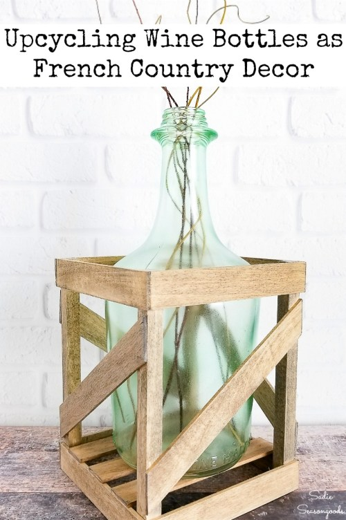 Glass carboy or wine jug that has been upcycled as a demijohn bottle for French farmhouse decor