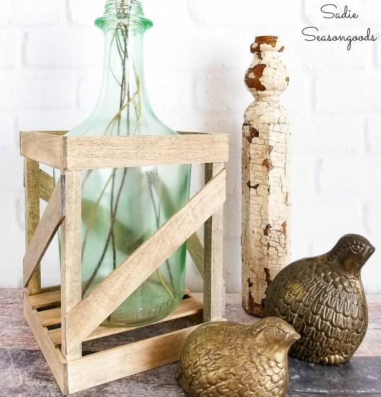 Making a demijohn vase with empty wine bottles or a class carboy for French Country decor