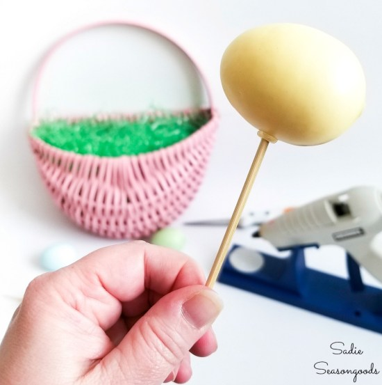 Bamboo skewers attached to Easter eggs for sticking in flower foam for an Easter egg wreath