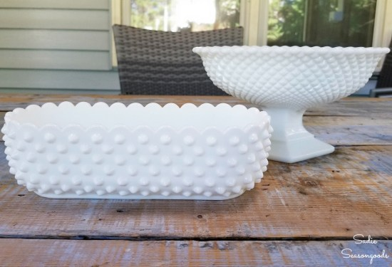 Easter decoration ideas with milk glass dishes from the thrift store