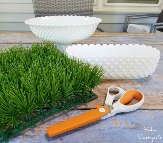 Plastic grass mat from a craft store to put inside the hobnail milk glass